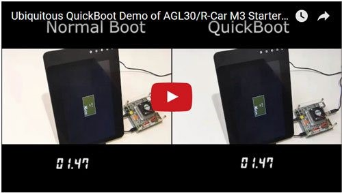 Ubiquitous QuickBoot Demo of AGL30/R-Car M3 StarterKit 高速起動デモ